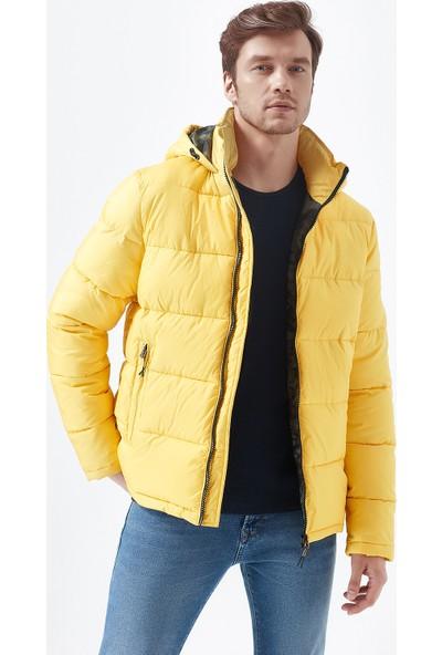 Mavi Erkek Kapüşonlu Sarı Şişme Mont 010310-32173