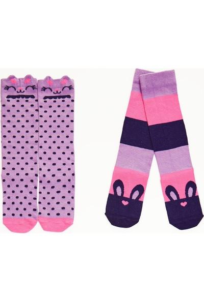 Denokids Tavşanlar Kız Çocuk Dizaltı Çorap