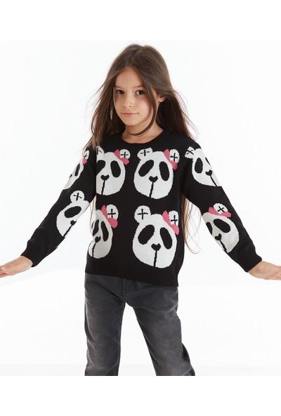 Mushi Kurdelalı Panda Kız Çocuk Triko Kazak