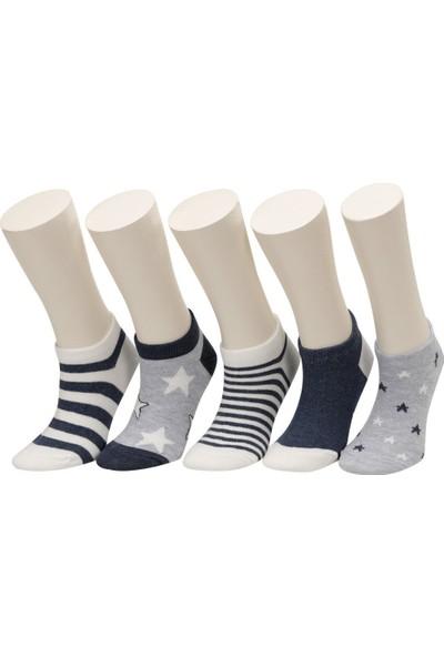 Star 5 Lı Ptk-B Gri Multı Erkek Çocuk 5'li Patik Çorap