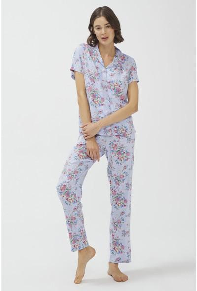 Penti Açık Mavi Oil Painted Pijama Takımı
