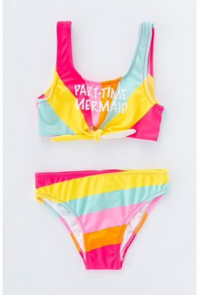 Penti Çok Renkli Kız Color Block Halter Bikini Takımı