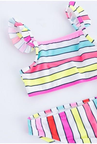 Penti Çok Renkli Kız Çocuk Retro Halter Bikini Takımı