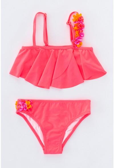 Penti Parlak Pembe Kız Çocuk Rosy Tek Omuz Bikini Takımı