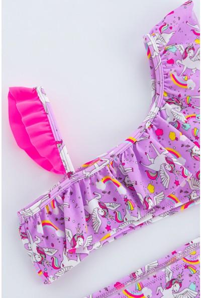 Penti Parlak Pembe Kız Çocuk Unicorn Tek Omuz Bikini Takımı