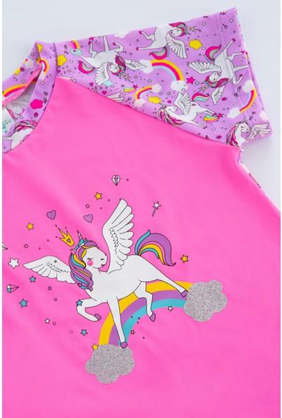 Penti Parlak Pembe Kız Çocuk Unicorn Uv Koruyucu Mayo