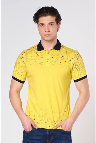 Duca Blanca Fermuarlı Baskılı Pamuk Polo Yaka T-Shirt
