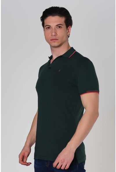 Duca Blanca Likralı Slim Fit Yaka Noktalı Polo Yaka T-Shirt
