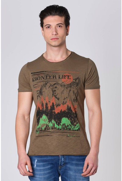 Duca Blanca Pioneer Life Baskı Pis Kesim Sıfır Yaka T-Shirt
