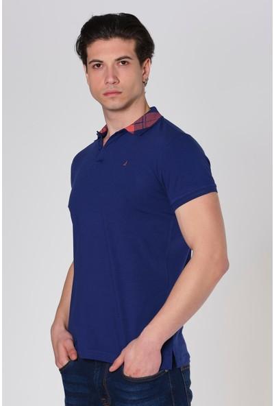Duca Blanca Yaka Desenli Likralı Slim Fit Polo Yaka T-Shirt