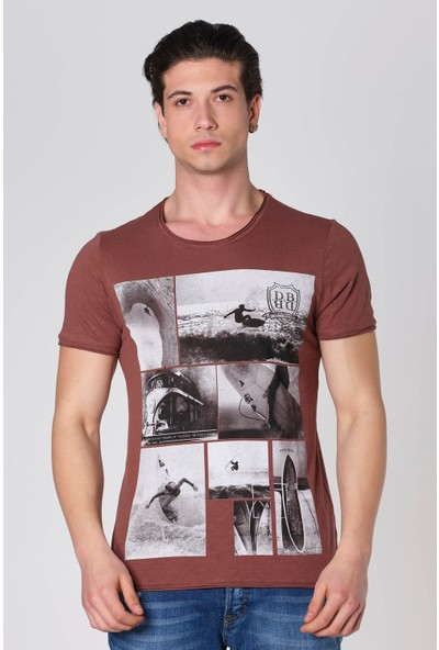 Duca Blanca Sıfır Yaka Sörf Baskılı Pamuk T-Shirt