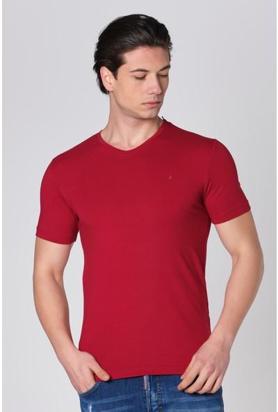 Duca Blanca V Yaka Likralı Pamuk T-Shirt
