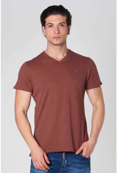Duca Blanca V Yaka Pis Kesim Filamlı Pamuk T-Shirt