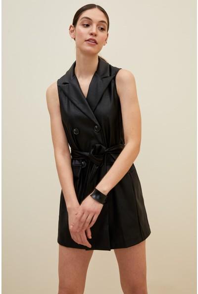 DeFacto Düğme Detaylı Belden Bağlamalı Dokuma Elbise