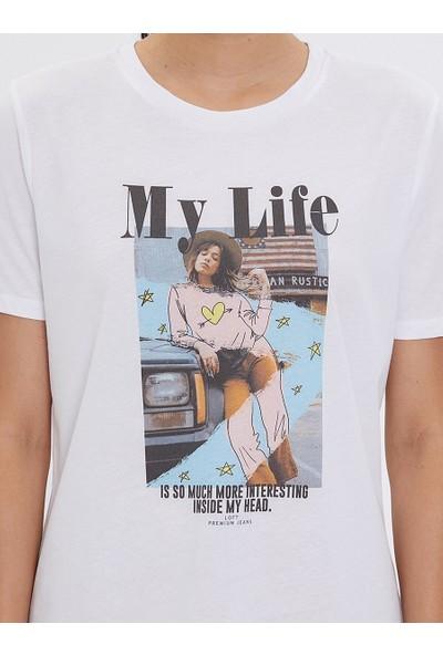 Loft Kadın Bisiklet Yaka T-Shirt 2026242