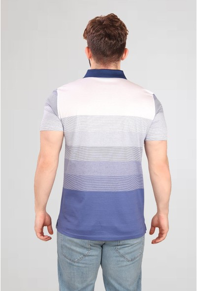 Alexander Gardi Çizgili Polo T-Shirt Koyu Mavi-Beyaz (E20-06414)