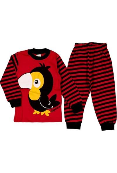 Süpermini Karga Desenli 2'li Pamuklu Alt Üst Pijama Takımı