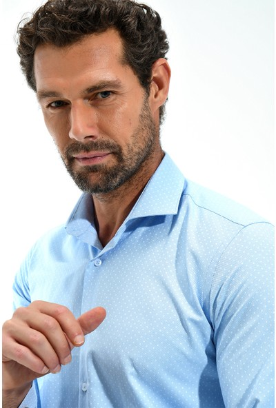 Morven Italyan Yaka Slim Fit Gömlek Mavi