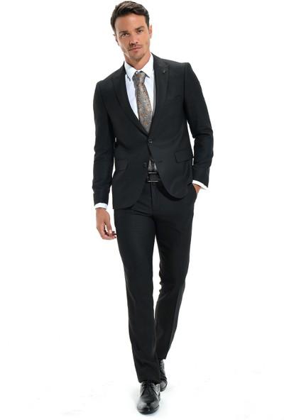 Morven Jakarlı Slim Fit Takım Elbise Siyah