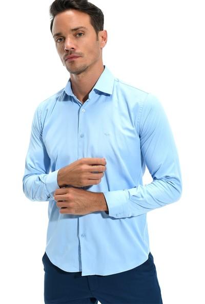 Morven Soft Slim Fit Gömlek Buz Mavisi
