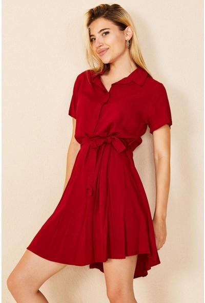 Morpile Bel Bağlamalı Gömlek Elbise