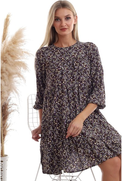 Cotton Mood 20333362 Dok.viskon Desenli Uz.kol Salash Elbise Siyah Lila