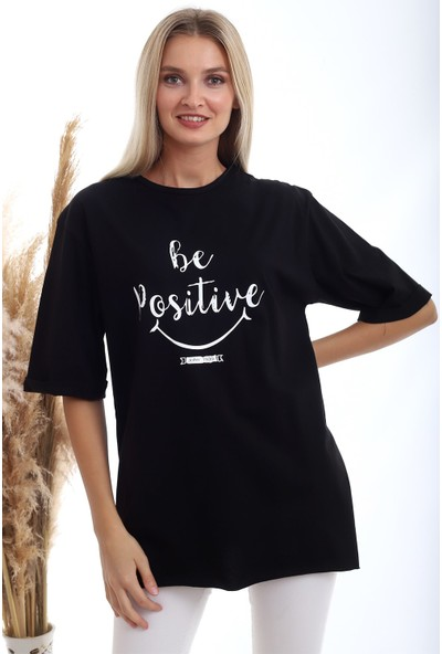 Cotton Mood 20333402 Süprem Be Positive Baskılı T-Shirt Siyah