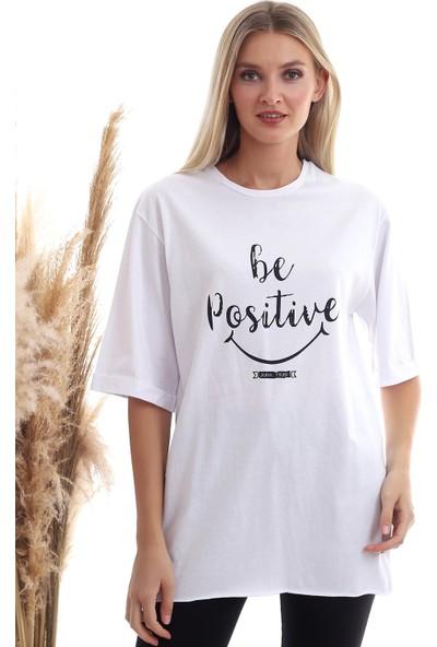 Cotton Mood 20333402 Süprem Be Positive Baskılı T-Shirt Beyaz