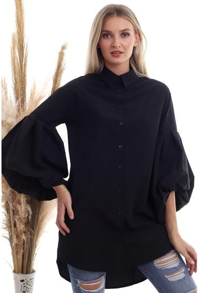 Cotton Mood 20333238 Poplin Balon Kollu Uzun Gömlek Siyah