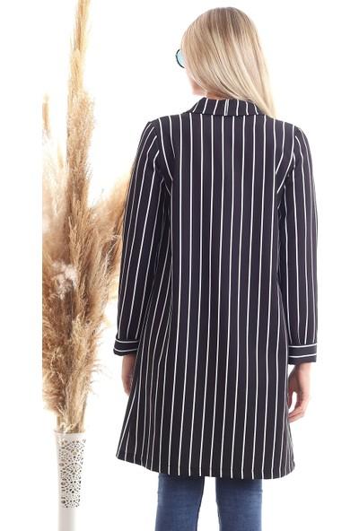 Cotton Mood 20343264 Atlas Çizgili Uzun Ceket Siyah Beyaz Çızgılı
