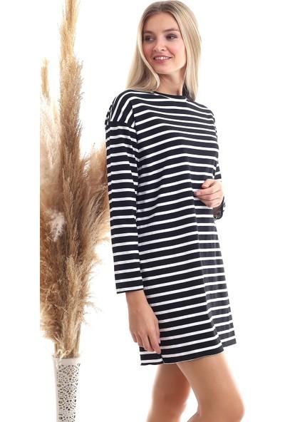Cotton Mood 20343461 Süprem Kalın Çizgili Uzun Kol T-Shirt Siyah