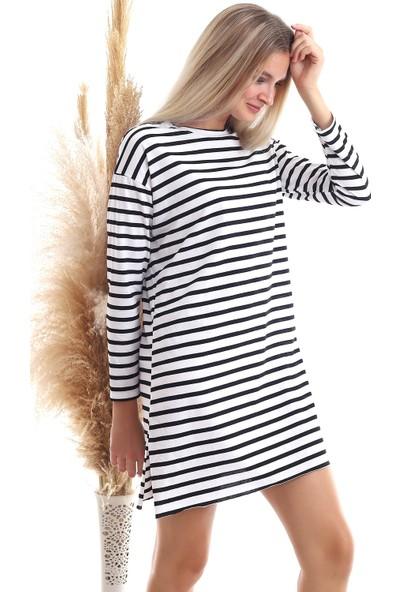 Cotton Mood 20343461 Süprem Kalın Çizgili Uzun Kol T-Shirt Beyaz