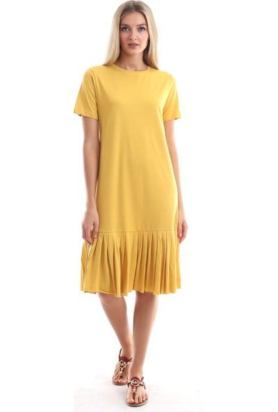 Cotton Mood 9303044 Süprem Eteği Pliseli Kısa Kol Elbise Hardal