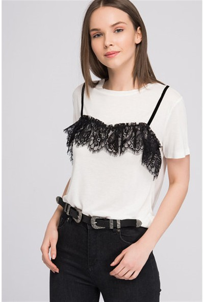 Cotton Mood 8070704 Askı ve Dantel Detaylı Kısa Kol T.shirt Ekru