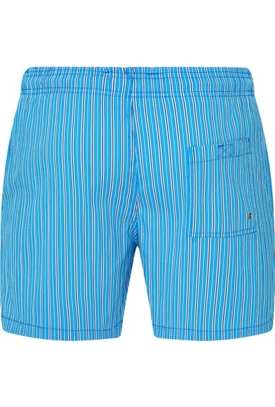 Shikoo Swimwear Mavi Beyaz Çizgili Bağcıklı Şort Mayo