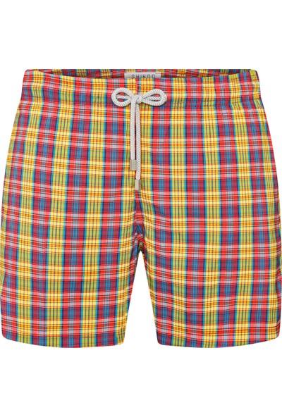 Shikoo Swimwear Sarı Fuşya Kareli Bağcıklı Şort Mayo