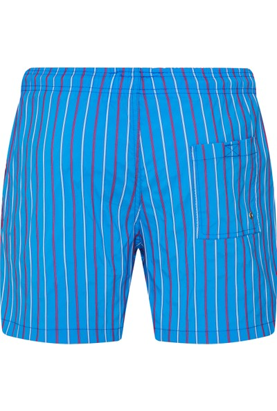 Shikoo Swimwear Mavi Kırmızı Çizgili Bağcıklı Şort Mayo