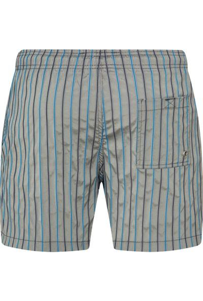 Shikoo Swimwear Gri Lacivert Çizgili Bağcıklı Şort Mayo