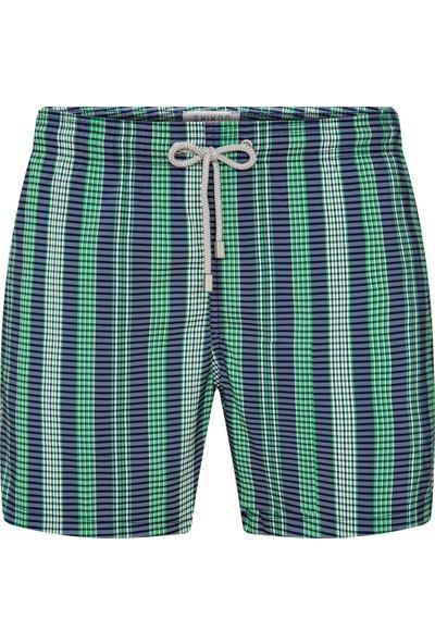 Shikoo Swimwear Yeşil Lacivert Dikey Çizgili Bağcıklı Şort Mayo