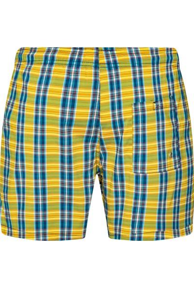 Shikoo Swimwear Sarı Lacivert Kareli Bağcıklı Şort Mayo