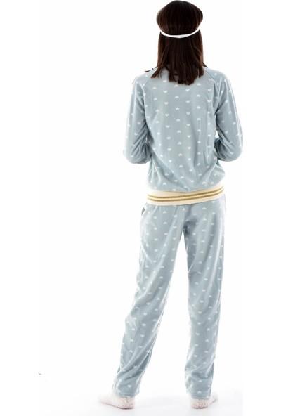 Arcan Kadın 1105-1 Çoraplı Göz Bantlı Polar Pijama Takımı Yeşil