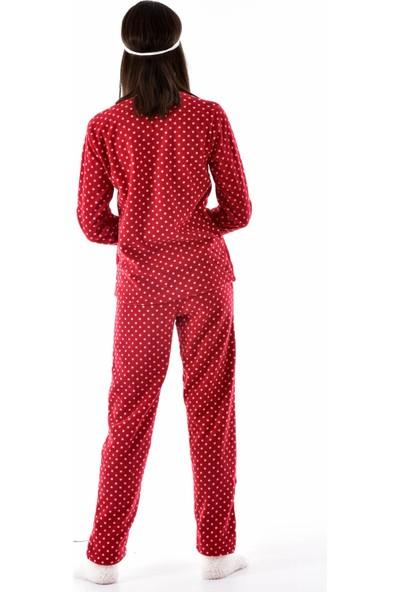 Arcan Kadın 1115-030 Çoraplı Göz Bantlı Welsoft Polar Pijama Takımı Bordo