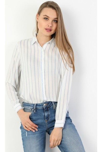 Colin'S Regular Fit Standart Kol V Yaka Beyaz Kadın Gömlek Uzun Kol