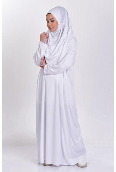 Amisos Bone Şal Namaz Elbisesi Tek Parça Beyaz