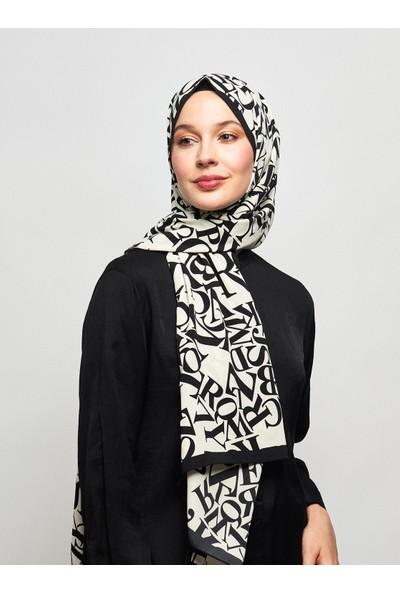 Modakaşmir Typo Desenli Medine İpeği Şal - Beyaz Siyah