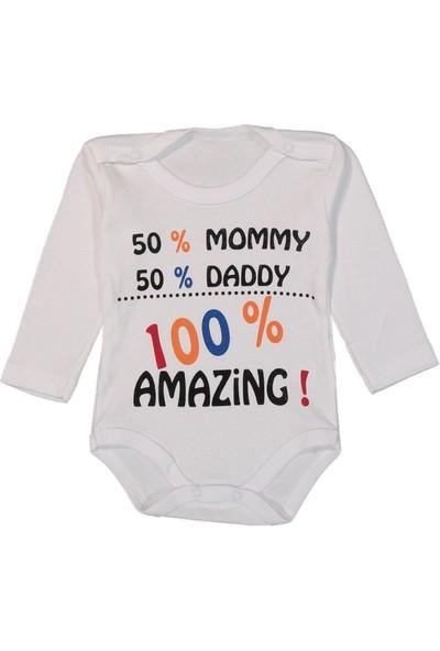 100% Amazing Baskılı Uzun Kol Çıtçıtlı Bebe Badi