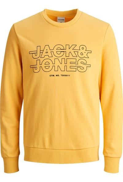 Jack & Jones Bisiklet Yaka Baskılı Erkek Sweatshirt 12180201