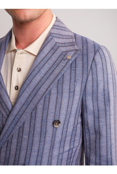 Dufy Mor Çizgili Keten Viskon Karışımlı Erkek Ceket - Modern Fit