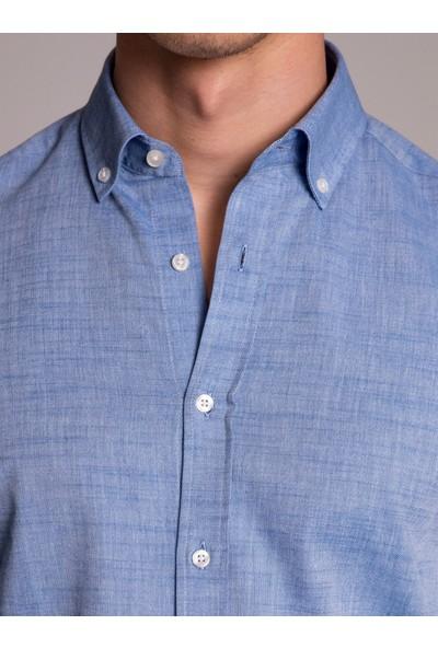Dufy Mavi Pamuklu Erkek Gömlek - Slim Fit