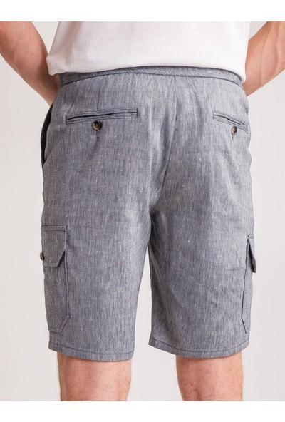 Dufy Lacivert Melanj Ip Detaylı Cepli Keten Karışımlı Erkek Short - Modern Fit